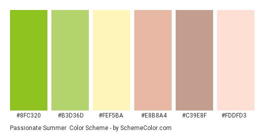 Passionate Summer - Color scheme palette thumbnail - #8fc320 #b3d36d #fef5ba #e8b8a4 #c39e8f #fddfd3