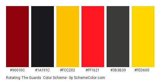 Rotating the Guards - Color scheme palette thumbnail - #90010c #1a191c #FCC202 #ff1621 #3b3b39 #FeD600