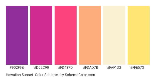 Hawaiian Sunset - Color scheme palette thumbnail - #902f9b #d02c90 #fd437d #fdad7b #faf1d2 #ffe573