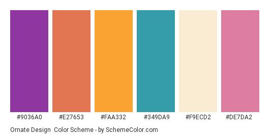 Ornate Design - Color scheme palette thumbnail - #9036a0 #e27653 #faa332 #349da9 #f9ecd2 #de7da2