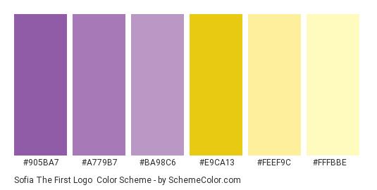 Sofia The First Logo - Color scheme palette thumbnail - #905ba7 #a779b7 #ba98c6 #e9ca13 #feef9c #fffbbe