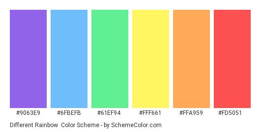 Different Rainbow - Color scheme palette thumbnail - #9063e9 #6fbefb #61ef94 #fff661 #ffa959 #fd5051