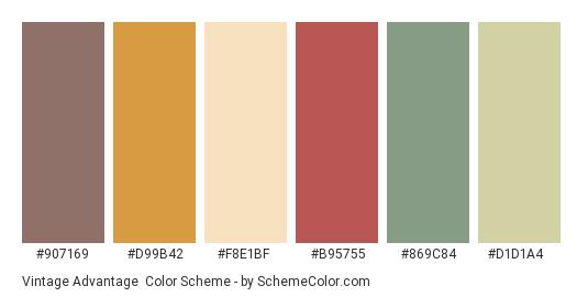 Vintage Advantage - Color scheme palette thumbnail - #907169 #d99b42 #f8e1bf #b95755 #869c84 #d1d1a4