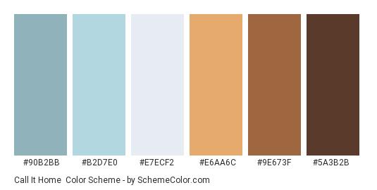 Call it Home - Color scheme palette thumbnail - #90b2bb #b2d7e0 #e7ecf2 #e6aa6c #9e673f #5a3b2b