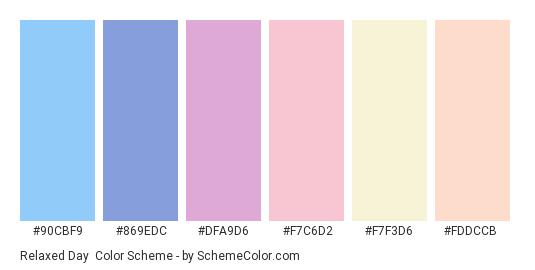 Relaxed Day - Color scheme palette thumbnail - #90cbf9 #869edc #dfa9d6 #f7c6d2 #f7f3d6 #fddccb