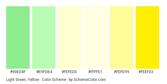 Light Green, Yellow & Cream - Color scheme palette thumbnail - #90ed8f #b9fdb4 #fefed0 #ffffe1 #fdfd99 #feef03