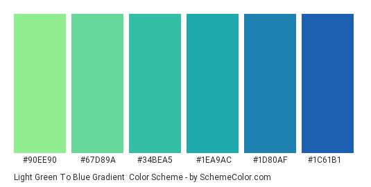 Light Green to Blue Gradient - Color scheme palette thumbnail - #90ee90 #67d89a #34bea5 #1ea9ac #1d80af #1c61b1
