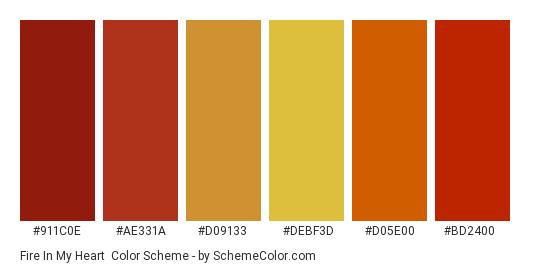 Fire in my Heart - Color scheme palette thumbnail - #911c0e #ae331a #d09133 #debf3d #d05e00 #bd2400