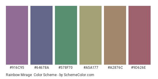 Rainbow Mirage - Color scheme palette thumbnail - #916c95 #64678a #578f70 #a5a177 #a2876c #9d626e