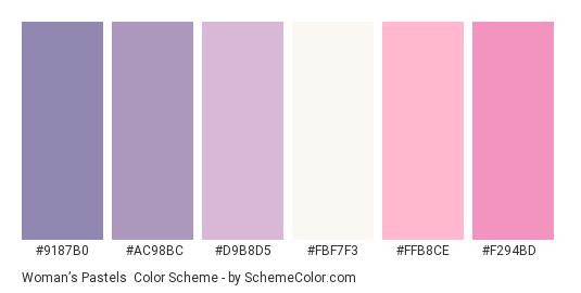 Woman's Pastels - Color scheme palette thumbnail - #9187B0 #AC98BC #D9B8D5 #fbf7f3 #FFB8CE #F294BD