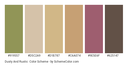 Dusty and Rustic - Color scheme palette thumbnail - #919557 #d5c2a9 #d1b787 #c6a074 #9e5e6f #625147