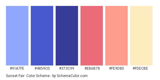 Sunset Fair - Color scheme palette thumbnail - #91A7FE #4859CD #373C99 #EB6B78 #FE9D8D #FDECBE
