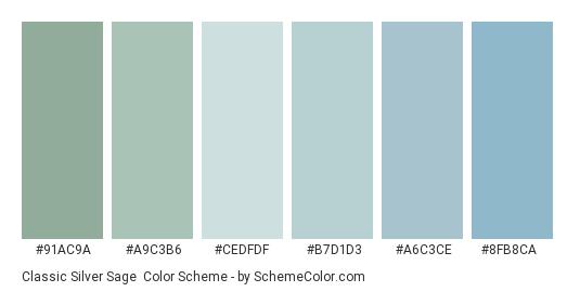 Classic Silver Sage - Color scheme palette thumbnail - #91ac9a #a9c3b6 #cedfdf #b7d1d3 #a6c3ce #8fb8ca