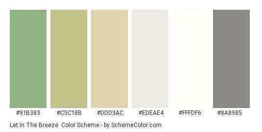 Let in the Breeze - Color scheme palette thumbnail - #91b383 #c5c18b #ddd3ac #edeae4 #fffdf6 #8a8985