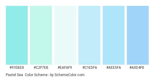 Pastel Sea - Color scheme palette thumbnail - #91ebe8 #C2F7EB #EAFAF9 #c1edfa #aee5fa #a0d4f8