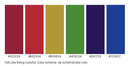 Felt Like Being Colorful - Color scheme palette thumbnail - #922039 #b52934 #b09834 #478c34 #281759 #1c3e97