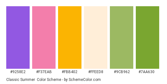 Classic Summer - Color scheme palette thumbnail - #9258e2 #f37eab #fbb402 #ffeed8 #9cb962 #7aa630