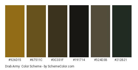 Drab Army - Color scheme palette thumbnail - #926d15 #67511c #3c331f #191714 #524d3b #212b21