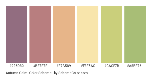 Autumn Calm - Color scheme palette thumbnail - #926d80 #b87e7f #e7b589 #f8e5ac #cacf7b #a8be76