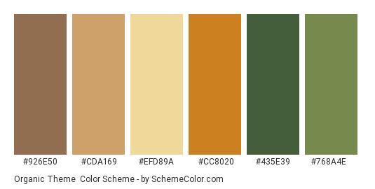 Organic Theme - Color scheme palette thumbnail - #926e50 #cda169 #efd89a #cc8020 #435e39 #768a4e