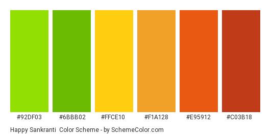 Happy Sankranti - Color scheme palette thumbnail - #92DF03 #6BBB02 #FFCE10 #F1A128 #E95912 #C03B18