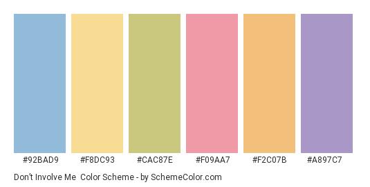 Don't Involve Me - Color scheme palette thumbnail - #92bad9 #f8dc93 #cac87e #f09aa7 #f2c07b #a897c7