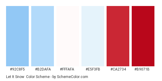 Let it Snow - Color scheme palette thumbnail - #92c8f5 #b2dafa #fffafa #e5f3fb #ca2734 #b9071b