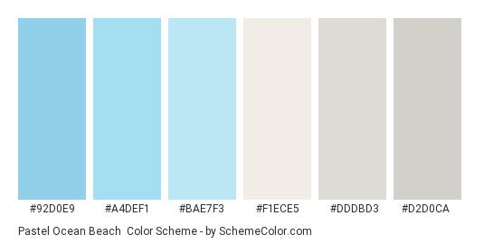 Pastel Ocean Beach - Color scheme palette thumbnail - #92d0e9 #a4def1 #bae7f3 #f1ece5 #dddbd3 #d2d0ca