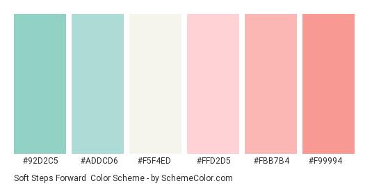 Soft Steps Forward - Color scheme palette thumbnail - #92d2c5 #addcd6 #f5f4ed #ffd2d5 #fbb7b4 #f99994