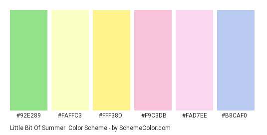 Little Bit of Summer - Color scheme palette thumbnail - #92e289 #faffc3 #fff38d #f9c3db #fad7ee #b8caf0