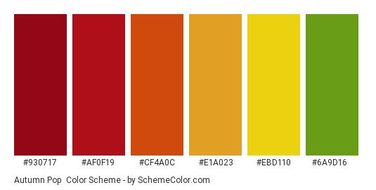 Autumn Pop - Color scheme palette thumbnail - #930717 #af0f19 #cf4a0c #e1a023 #ebd110 #6a9d16