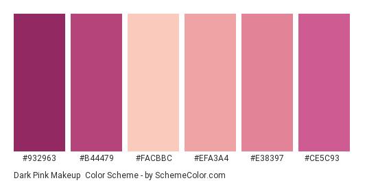 Dark Pink Makeup - Color scheme palette thumbnail - #932963 #b44479 #facbbc #efa3a4 #e38397 #ce5c93