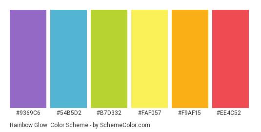 Rainbow Glow - Color scheme palette thumbnail - #9369c6 #54b5d2 #b7d332 #faf057 #f9af15 #ee4c52