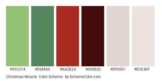 Christmas Miracle - Color scheme palette thumbnail - #93C274 #568660 #AA2B24 #430B0C #DFD6D1 #ECE4DF