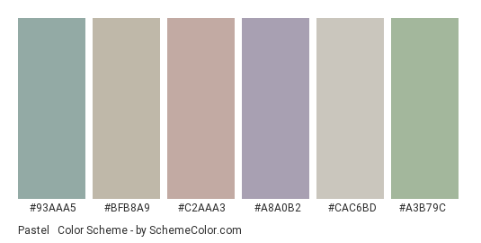 Pastel & Vintage - Color scheme palette thumbnail - #93aaa5 #bfb8a9 #c2aaa3 #a8a0b2 #cac6bd #a3b79c