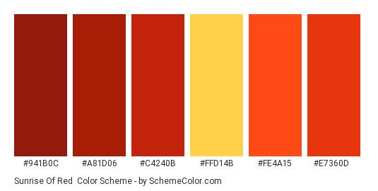 Sunrise of Red - Color scheme palette thumbnail - #941b0c #a81d06 #c4240b #ffd14b #fe4a15 #e7360d