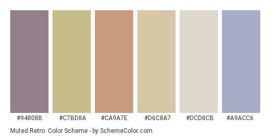 Muted Retro - Color scheme palette thumbnail - #94808b #c7bd8a #ca9a7e #d6c8a7 #dcd8cb #a9acc6