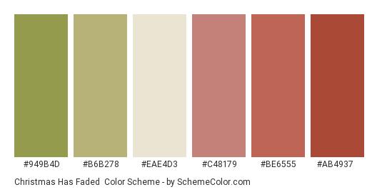 Christmas has Faded - Color scheme palette thumbnail - #949b4d #b6b278 #eae4d3 #c48179 #be6555 #ab4937