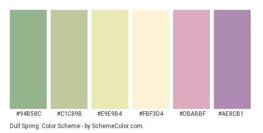 Dull Spring - Color scheme palette thumbnail - #94b58c #c1c89b #e9e9b4 #fbf3d4 #dbabbf #ae8cb1