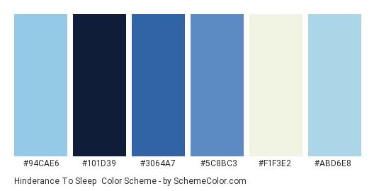 Hinderance to Sleep - Color scheme palette thumbnail - #94cae6 #101d39 #3064a7 #5c8bc3 #f1f3e2 #abd6e8
