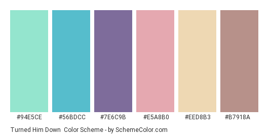 Turned Him Down - Color scheme palette thumbnail - #94e5ce #56bdcc #7e6c9b #e5a8b0 #eed8b3 #b7918a