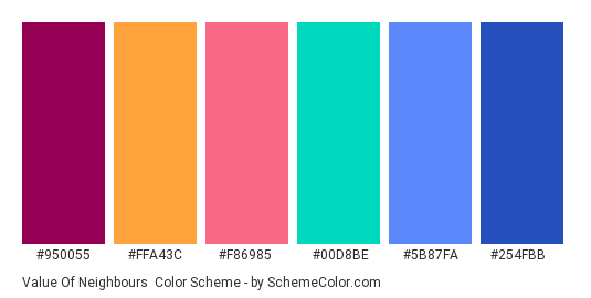 Value of Neighbours - Color scheme palette thumbnail - #950055 #ffa43c #f86985 #00d8be #5b87fa #254fbb