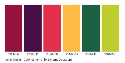 Indian Design - Color scheme palette thumbnail - #95123d #490e45 #e3304d #fcbb45 #1c6144 #bdcd2e