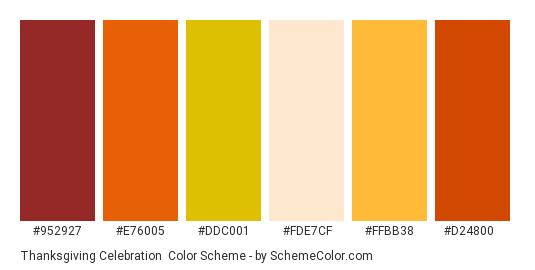 Thanksgiving Celebration - Color scheme palette thumbnail - #952927 #e76005 #ddc001 #fde7cf #ffbb38 #d24800