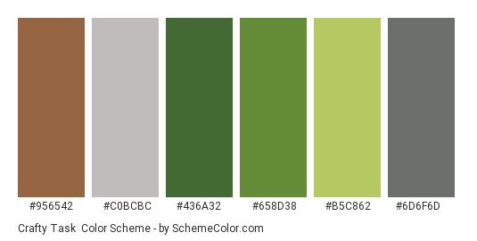 Crafty Task - Color scheme palette thumbnail - #956542 #c0bcbc #436a32 #658d38 #b5c862 #6d6f6d