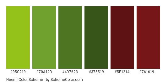 Neem - Color scheme palette thumbnail - #95C219 #70A12D #4D7623 #375519 #5E1214 #761619