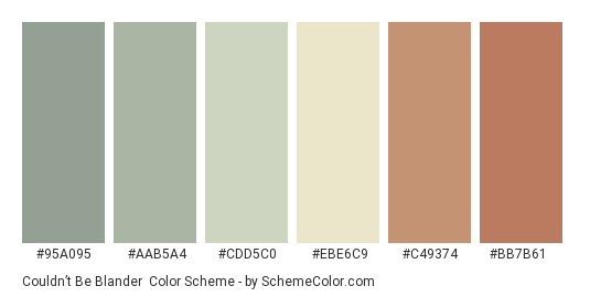 Couldn't Be Blander - Color scheme palette thumbnail - #95a095 #aab5a4 #cdd5c0 #ebe6c9 #c49374 #bb7b61