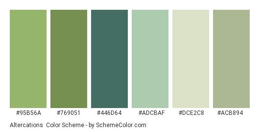 Altercations - Color scheme palette thumbnail - #95b56a #769051 #446d64 #adcbaf #dce2c8 #acb894
