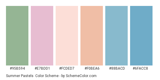 Summer Pastels - Color scheme palette thumbnail - #95b594 #e7bdd1 #fcded7 #f0bea6 #88bacd #6facc8