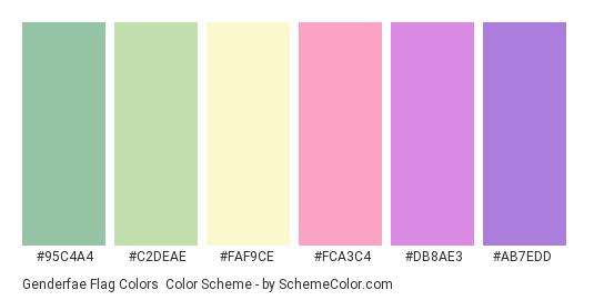 Genderfae Flag Colors - Color scheme palette thumbnail - #95c4a4 #c2deae #faf9ce #fca3c4 #db8ae3 #ab7edd